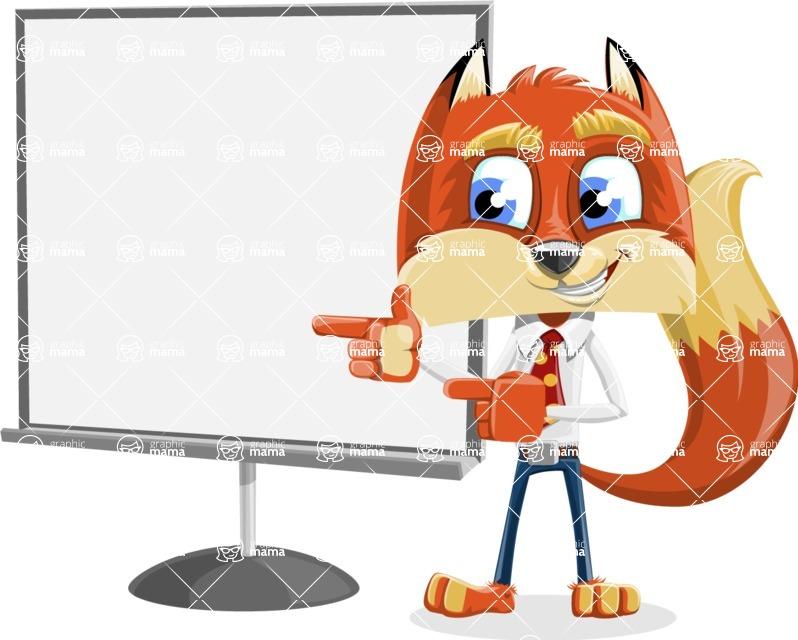 Fox with a Tie Cartoon Vector Character AKA Luke Foxman - Presentation 2