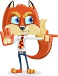 Fox with a Tie Cartoon Vector Character AKA Luke Foxman - Direct Attention 2