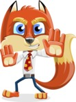 Fox with a Tie Cartoon Vector Character AKA Luke Foxman - Stop