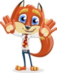 Fox with a Tie Cartoon Vector Character AKA Luke Foxman - Hello