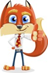 Fox with a Tie Cartoon Vector Character AKA Luke Foxman - Thumbs Up