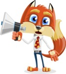 Fox with a Tie Cartoon Vector Character AKA Luke Foxman - Loudspeaker