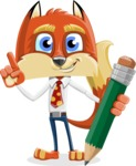 Fox with a Tie Cartoon Vector Character AKA Luke Foxman - Pencil