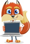 Fox with a Tie Cartoon Vector Character AKA Luke Foxman - Laptop 2