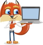 Fox with a Tie Cartoon Vector Character AKA Luke Foxman - Laptop 3