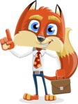 Fox with a Tie Cartoon Vector Character AKA Luke Foxman - Briefcase 2