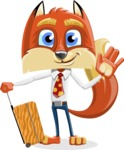 Fox with a Tie Cartoon Vector Character AKA Luke Foxman - Travel 1