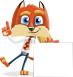 Fox with a Tie Cartoon Vector Character AKA Luke Foxman - Sign 7