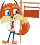 Fox with a Tie Cartoon Vector Character AKA Luke Foxman - Sign 9