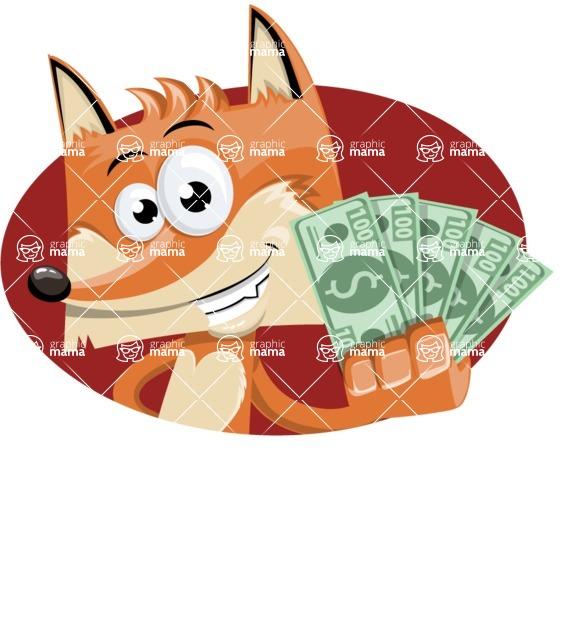 Flat Fox Cartoon Vector Character AKA Roy Foxly - Shape 3