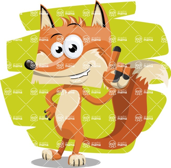 Flat Fox Cartoon Vector Character AKA Roy Foxly - Shape 5