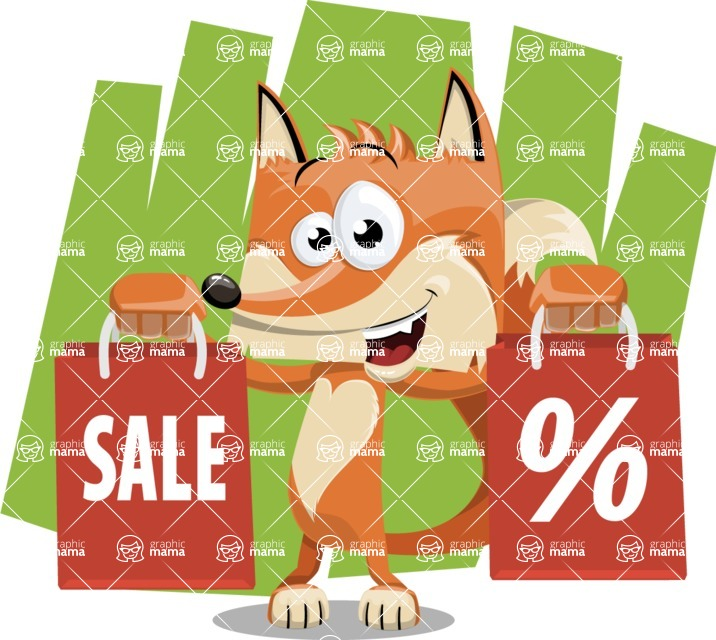 Flat Fox Cartoon Vector Character AKA Roy Foxly - Shape 7