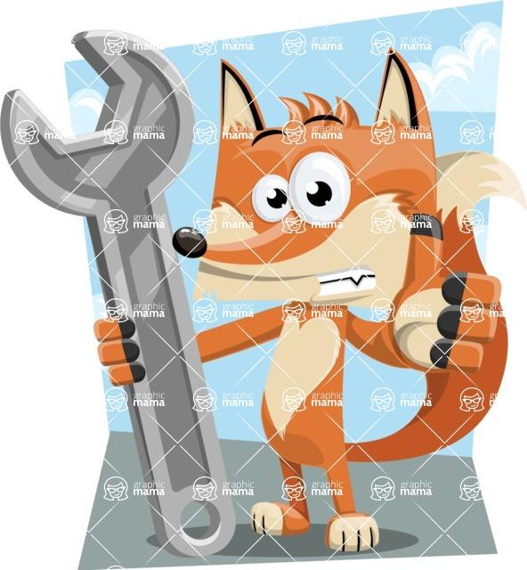 Flat Fox Cartoon Vector Character AKA Roy Foxly - Shape 9