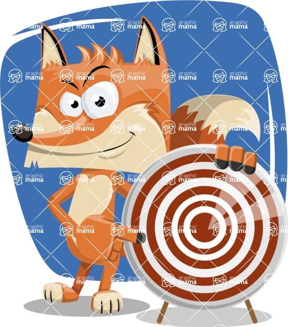 Flat Fox Cartoon Vector Character AKA Roy Foxly - Shape 10