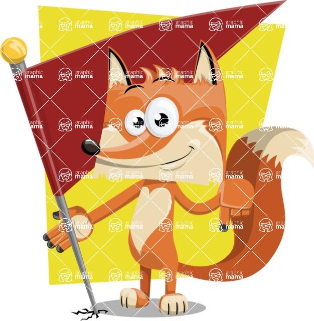 Flat Fox Cartoon Vector Character AKA Roy Foxly - Shape 11