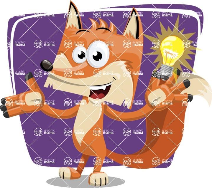 Flat Fox Cartoon Vector Character AKA Roy Foxly - Shape 12