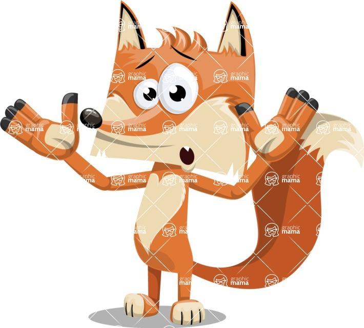 Flat Fox Cartoon Vector Character AKA Roy Foxly - Shocked