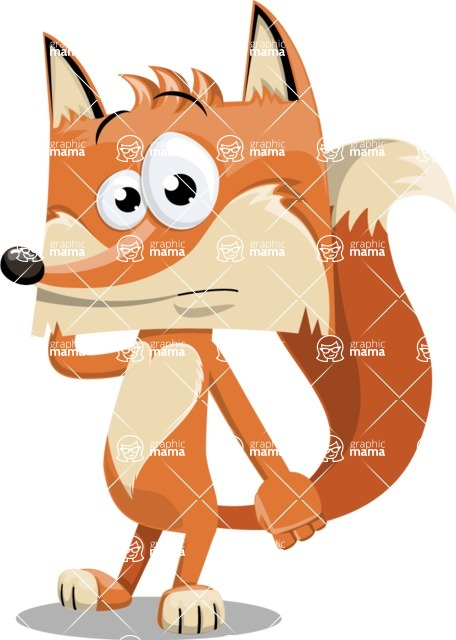 Flat Fox Cartoon Vector Character AKA Roy Foxly - Confused