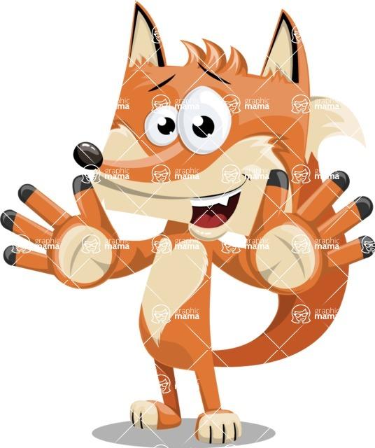Flat Fox Cartoon Vector Character AKA Roy Foxly - Hello