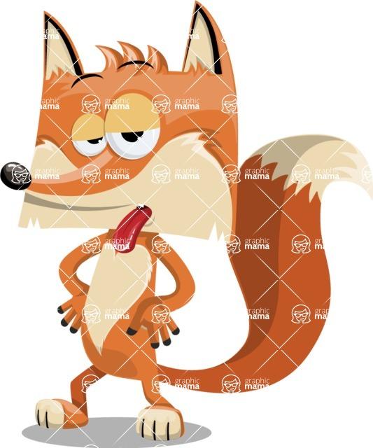 Flat Fox Cartoon Vector Character AKA Roy Foxly - Making Face
