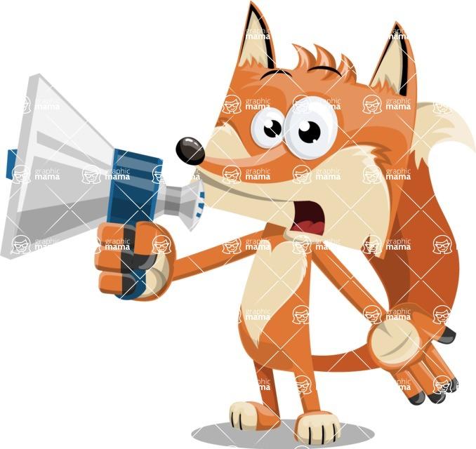 Flat Fox Cartoon Vector Character AKA Roy Foxly - Loudspeaker
