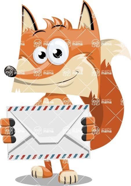 Flat Fox Cartoon Vector Character AKA Roy Foxly - Letter