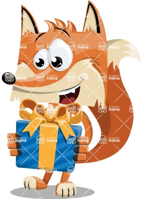 Flat Fox Cartoon Vector Character AKA Roy Foxly - Gift