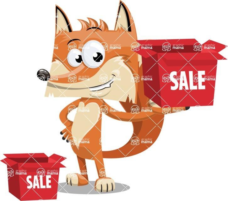 Flat Fox Cartoon Vector Character AKA Roy Foxly - Sale
