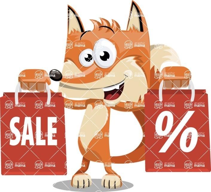 Flat Fox Cartoon Vector Character AKA Roy Foxly - Sale 2