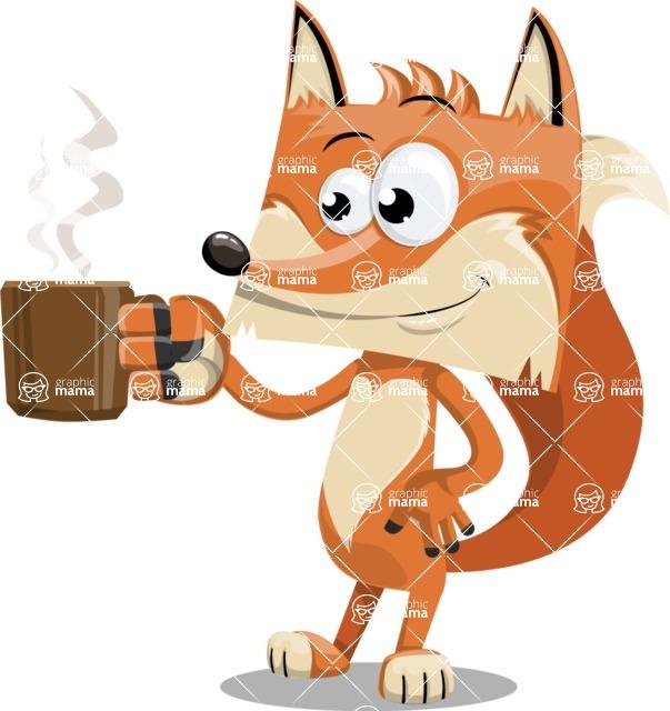 Flat Fox Cartoon Vector Character AKA Roy Foxly - Coffee