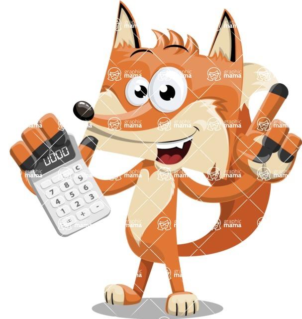 Flat Fox Cartoon Vector Character AKA Roy Foxly - Calculator