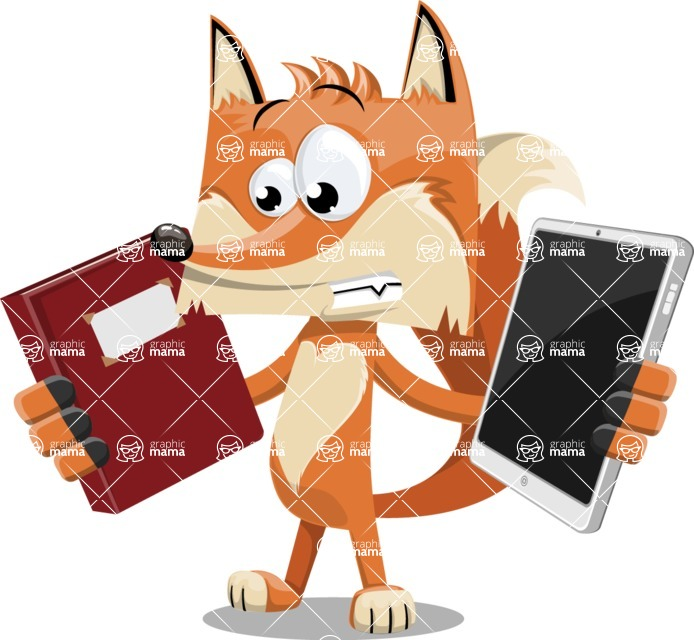 Flat Fox Cartoon Vector Character AKA Roy Foxly - Book and iPad