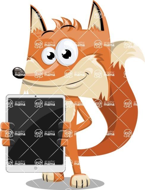 Flat Fox Cartoon Vector Character AKA Roy Foxly - iPad 1