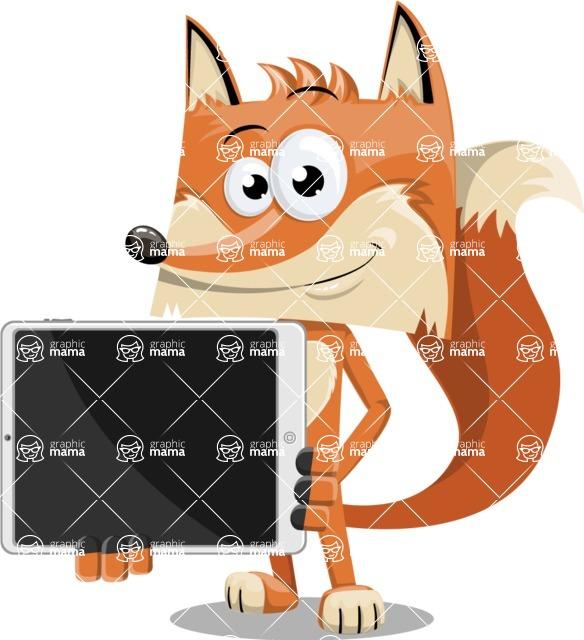 Flat Fox Cartoon Vector Character AKA Roy Foxly - iPad 2