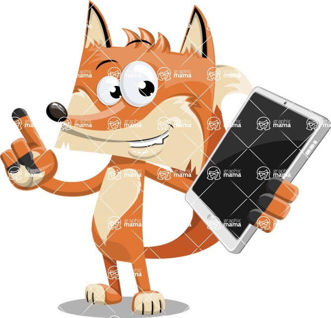 Flat Fox Cartoon Vector Character AKA Roy Foxly - iPad 3