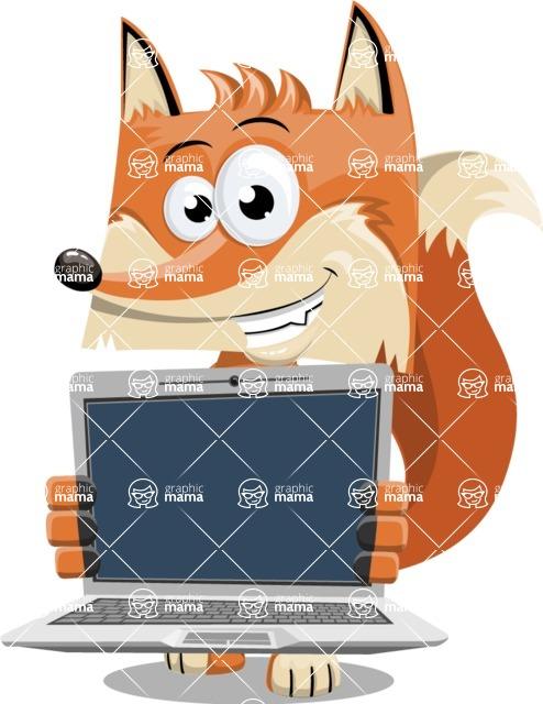 Flat Fox Cartoon Vector Character AKA Roy Foxly - Laptop 2