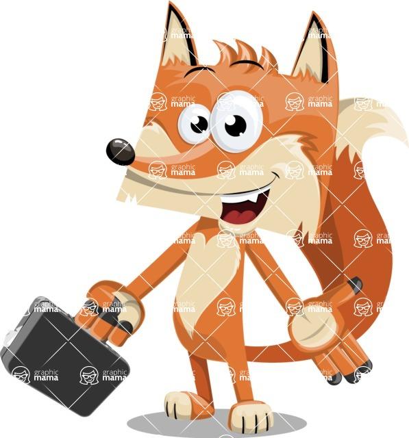 Flat Fox Cartoon Vector Character AKA Roy Foxly - Briefcase 1