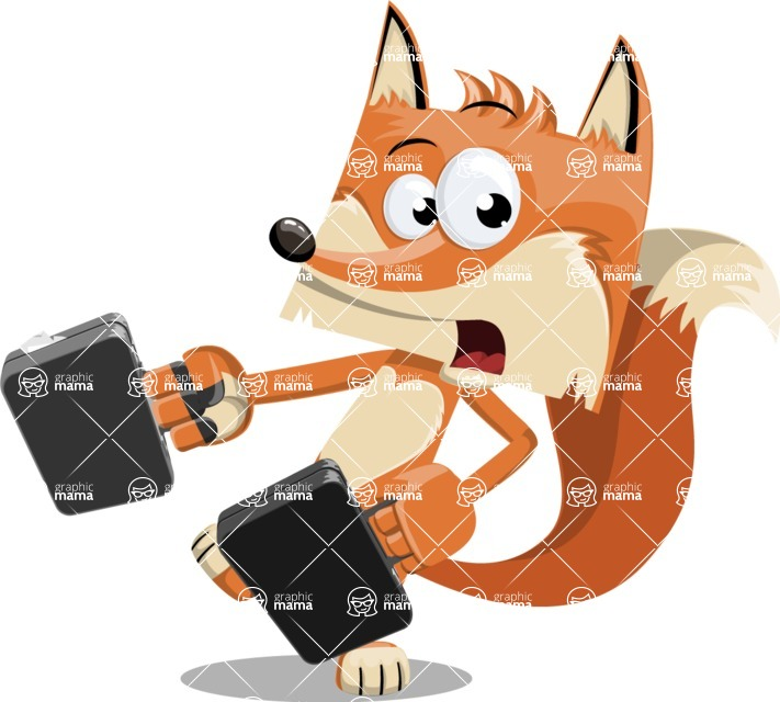 Flat Fox Cartoon Vector Character AKA Roy Foxly - Briefcase 3