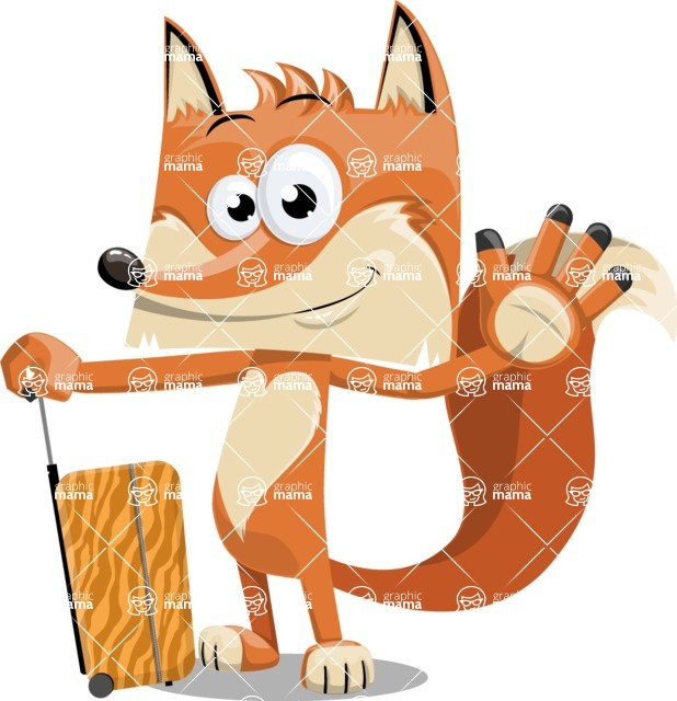 Flat Fox Cartoon Vector Character AKA Roy Foxly - Travel 1