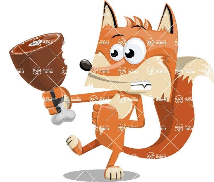 Flat Fox Cartoon Vector Character AKA Roy Foxly - Meat