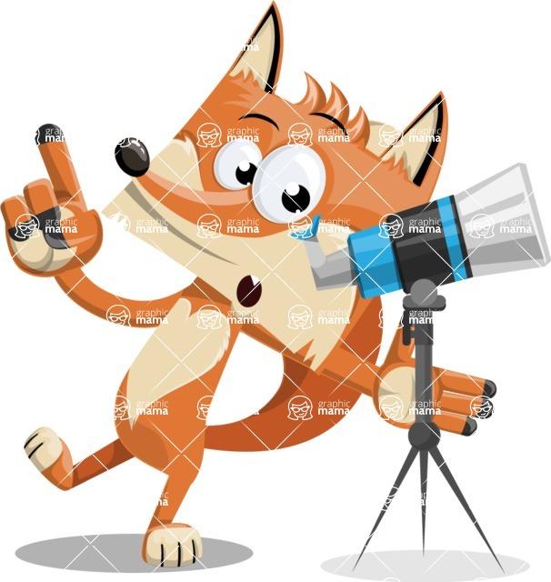 Flat Fox Cartoon Vector Character AKA Roy Foxly - Telescope