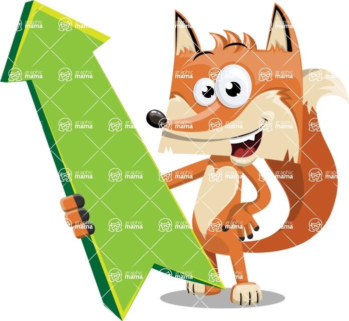 Flat Fox Cartoon Vector Character AKA Roy Foxly - Pointer 1