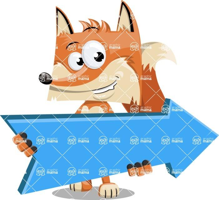 Flat Fox Cartoon Vector Character AKA Roy Foxly - Pointer 2