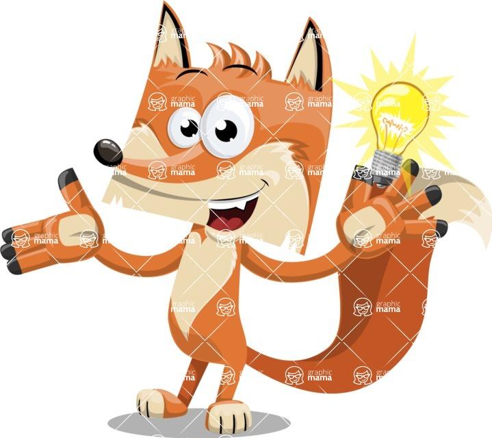 Flat Fox Cartoon Vector Character AKA Roy Foxly - Idea 1