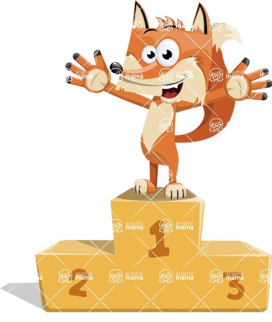 Flat Fox Cartoon Vector Character AKA Roy Foxly - On Top