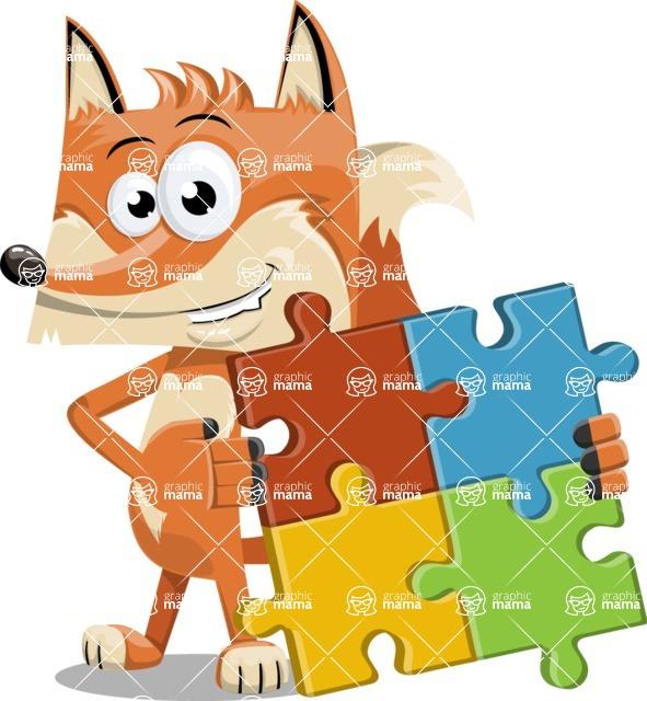 Flat Fox Cartoon Vector Character AKA Roy Foxly - Puzzle