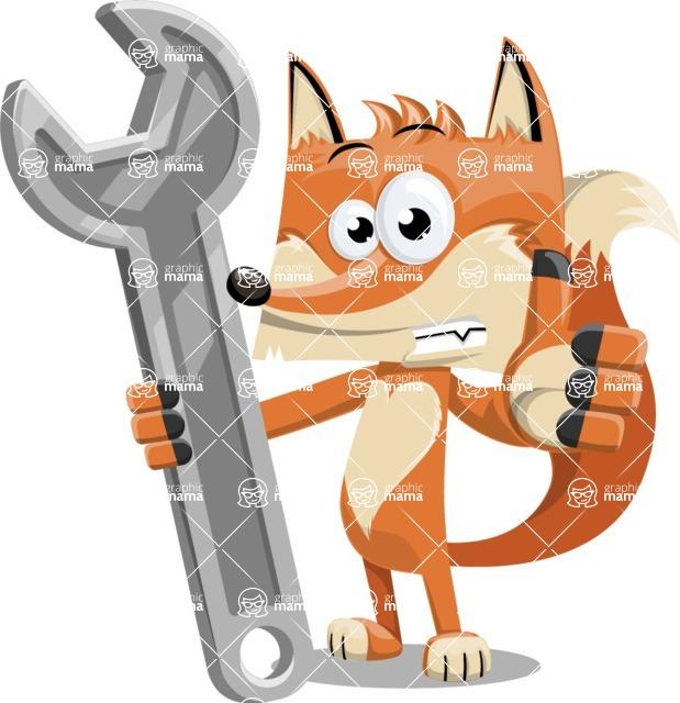 Flat Fox Cartoon Vector Character AKA Roy Foxly - Repair