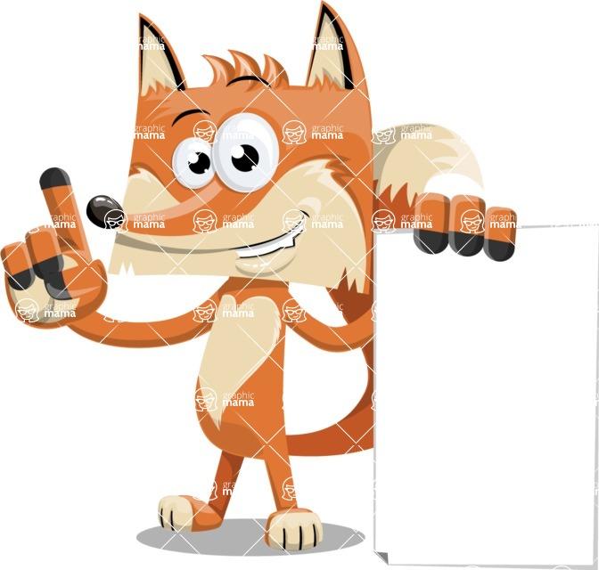 Flat Fox Cartoon Vector Character AKA Roy Foxly - Sign 2