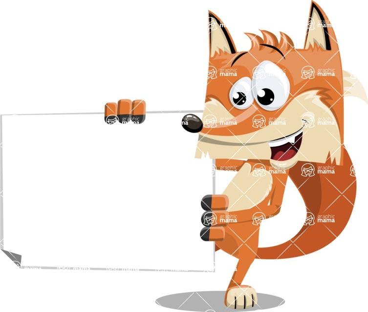 Flat Fox Cartoon Vector Character AKA Roy Foxly - Sign 4