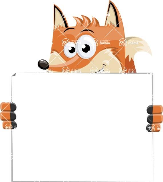 Flat Fox Cartoon Vector Character AKA Roy Foxly - Sign 5